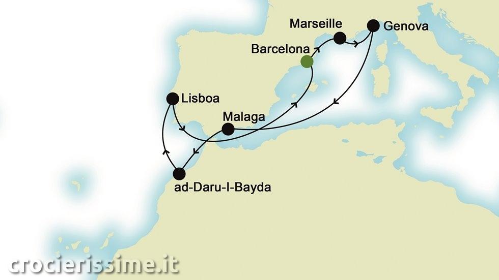 MEDITERRANEO DA EST A OVEST da Barcellona