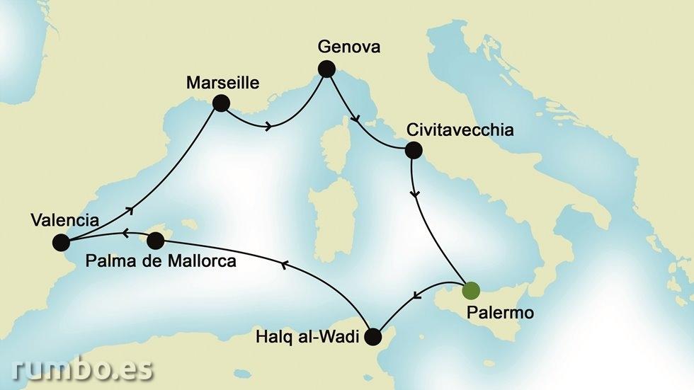 MEDITERRÁNEO OCCIDENTAL desde Palermo
