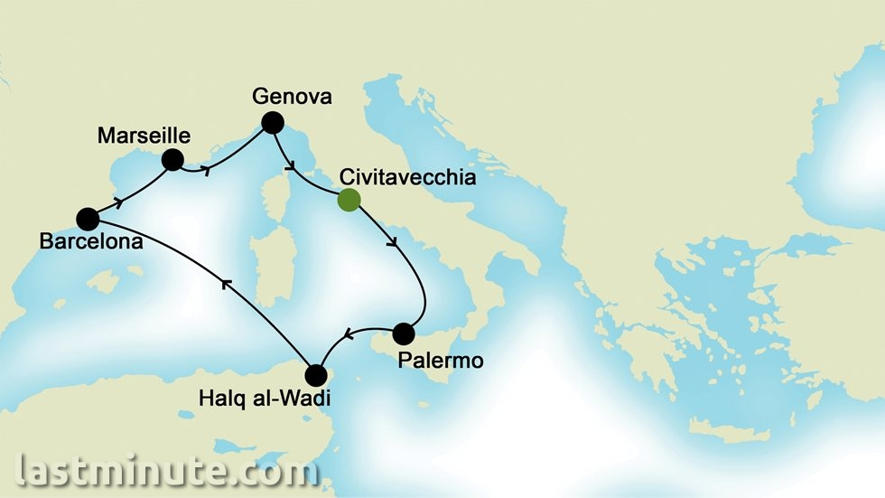 MÉDITERRANÉE OCCIDENTALE au départ de Civitavecchia