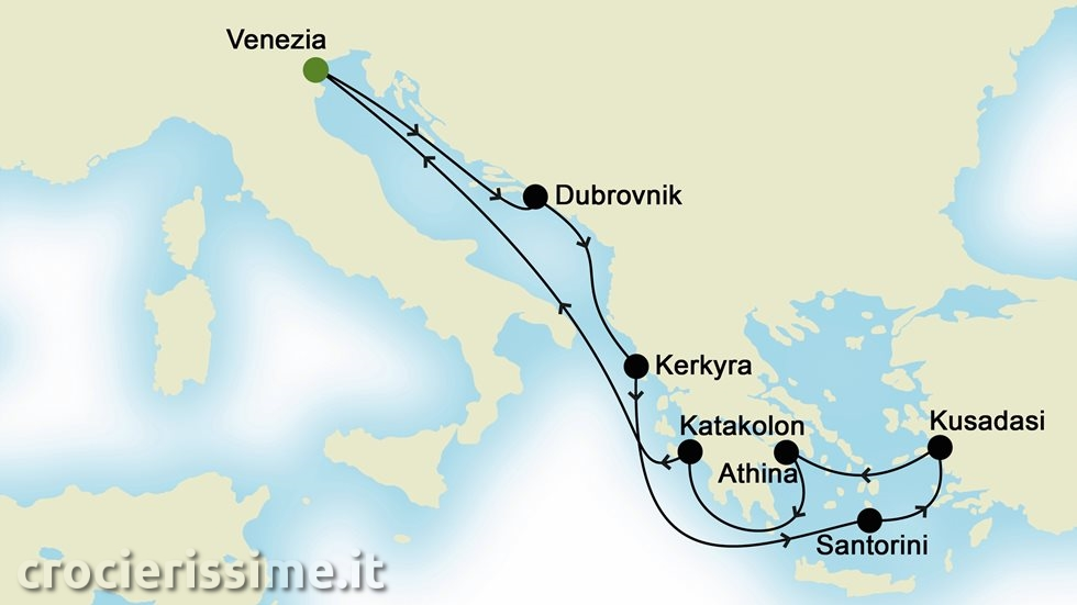 ISOLE GRECHE E MEDITERRANEO ORIENTALE da Venezia
